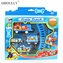Pat Canine Patrol Puppy Thomas Electric Train Tracks Play Set Educational Toy Pow Pet Dog Electric Rail Train For Kids