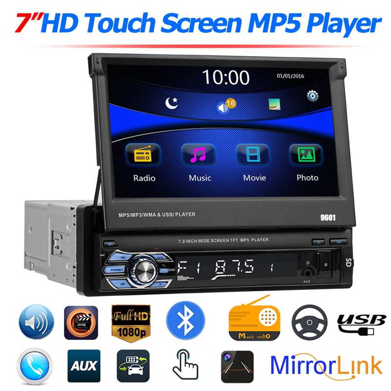 "7/"" HD Double 2 DIN Flip up Car Stereo MP5 MP3 Player Bluetooth Touchscreen Radio"