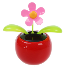 Practical Car Rose-red Cute Flip Flap Swing Solar Flower(China)