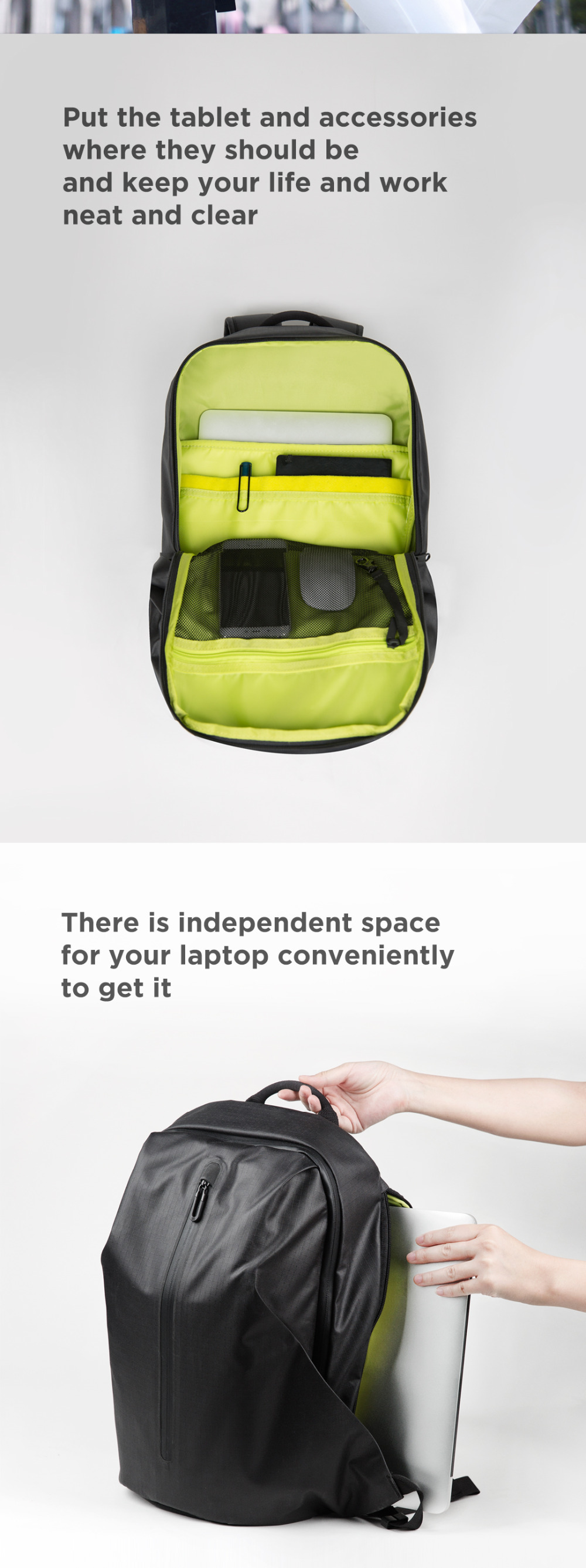 Xiaomi Eco-chain 90FUN All Weather Functional Backpack Fashion Waterproof bag Travel College School Bussiness ,Black/Orange red
