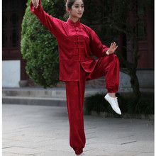 Burgundy Traditional Chinese Women Silk Satin Tai Chi Suit Female Vintage Button Clothing XXS XS S M L XL XXL XXXL