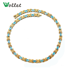 Wollet Necklaces for Women Blue CZ Crystal Jewelry High Quality Germanium Infrared Gold Filled Pure Titanium Magnetic Necklace(China)