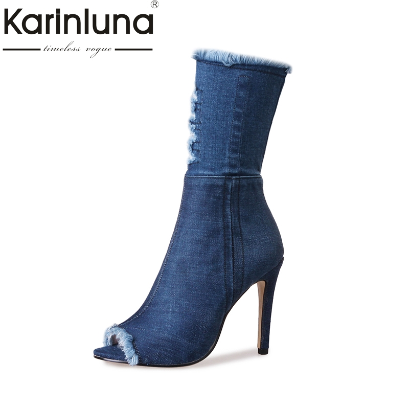 KARINLUNA 2017 Large Size 33-43 Thin High Heels Peep Toe Denim Upper Women Shoes Woman Sexy Party Boots Summer Boots<br>
