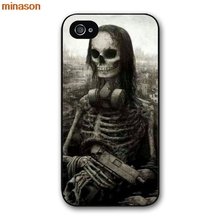 minason Cute Halloween Colorful Skull  Cover case for iphone 4 4s 5 5s 5c 6 6s 7 8 plus samsung galaxy S5 S6 Note 2 3 4   H3125