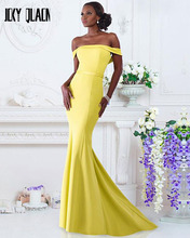 Joky Quaon New Design Boat Neck Off the Shoulder Yellow Satin Sexy Mermaid Formal Evening Dresses 2017 Sereia longo Amarelo
