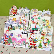 (12 pieces/lot)Free Shipping Merry Christmas Series Postcard Set Christmas Tree Greeting Card Santa Claus Gift Card for Children