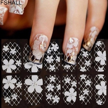 FSHALL Nail Art Stickers Decals Water Transfer Stamper Manicure White Lace Rhinestone Printing DIY -B118