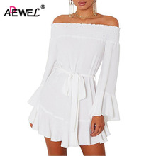 ADEWEL 2017 Autumn Long Flare Sleeve A-Line Off Shoulder Dress Women Sexy Mini Drap Hem Pleated Cute Party Dress Vestidos Mujer(China)
