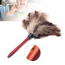 New Grey Anti-static Ostrich Feather Fur Duster Wooden Handle Home Dust Cleaner Brush For Cleaning Tool Home Cleanning Tool(China)