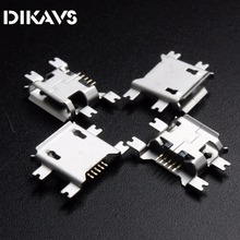 10pcs 5pin Female Micro USB Connector, SMD 4 Fixed feet, Widely used in tablet, phones and PDA