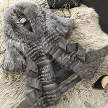 CY 167151 2016 New Women's Real Silver Fox Fur Coat With Raccoon Collar Slim Belt Short Sleeve Real Fur Coats  Female