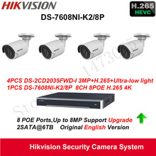 Hikvision English Security System 4xDS-2CD2035FWD-I 3MP H.265 Ultra-low light IP Camera Audio POE+4K NVR DS-7608NI-K2/8P H.265(China)