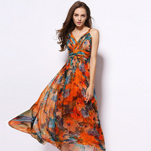 Summer Bohemian Strapless Long Floral Printed 100% Silk Dress Women 2017 Pleated Holiday Beach Maxi Dress Vestidos(China)