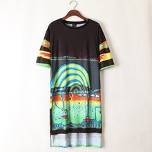 2017 Fashion Vestidos T Shirt Dress Women Cotton Printed Graffiti Dance Hip Hop Dress Vestidos Femininas Long Dresses(China)