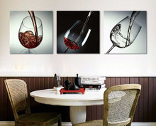 3 Piece No Frame Modern Kitchen Canvas Paintings Red Wine Cup Bottle Wall Art Painting Set Bar Dinning Room decoration
