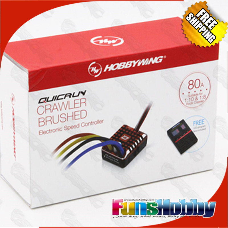 Hobbywing QuicRun 1:10 1/8 WP Crawler Brush Brushed 80A Electronic Speed Controller Waterproof ESC With Program box LED BEC XT60<br>