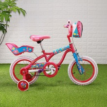 Bike 14'' Super Little girl Red & Pink Bike with Training Wheels kids cycling bike student bicycle+Front bag+Back seat(China)