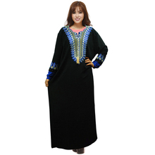 2016 Abayas For Women Muslim Islamic Clothing Fashion Plus Size Embroidery Diamonds Dubai Black Abaya Turkish Traditional Dress