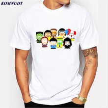 KOMNUDT High Quality Fashion Cartoon Sitcoms South Park Plus Size T-Shirt Men Short Sleeve Funny Men Round Neck Luxury Tee Shirt(China)