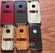 Wood Printed Electroplate Hard Case For Iphone 7 PLUS I7 7PLUS Iphone7 Wooden Hybird 3 IN 1 Cell Phone Skin Cover Fashion 1pcs(China)