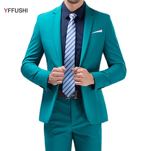 YFFUSHI Latest Design Men Suit 2 Pieces One Button Green Suits Wedding Suits For Men Best Men's Blazer Pants Plus Size 5XL(China)
