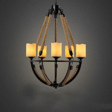 Nordic vintage hemp rope chandelier lamp 52*80 cm 5 arm marble candle droplight fixture wrought iron ceiling chandeliers modern