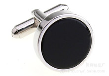 100pairs/lot [Factory] round onyx cufflinks Round cufflinks plane made wholesale cuff