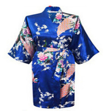 Hot Sales 2017 Chinese Rayon Silk Simulation Spring Summer Women Robe Kimono Bath Gown Nightgown Bathrobe Phoenix Flower Pattern(China)