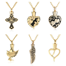 Shellhard Gold Color Urn Cremation Pendant Necklace Vintage Love Heart Ash Holder Mini Keepsake Necklaces Memorial Jewelry(China)