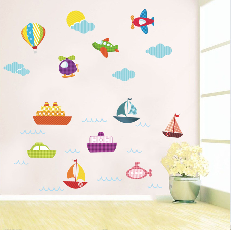 % Removable diy 3D cartoon hot air balloon boat plain kids toy wall stickers kids room living room Decals Mural Decal Art poster(China)