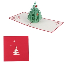 Hot Sale 3D Pop Up Handmade Hollow Christmas Tree Greeting Card New Year Xmas Gifts Art Sep14(China)