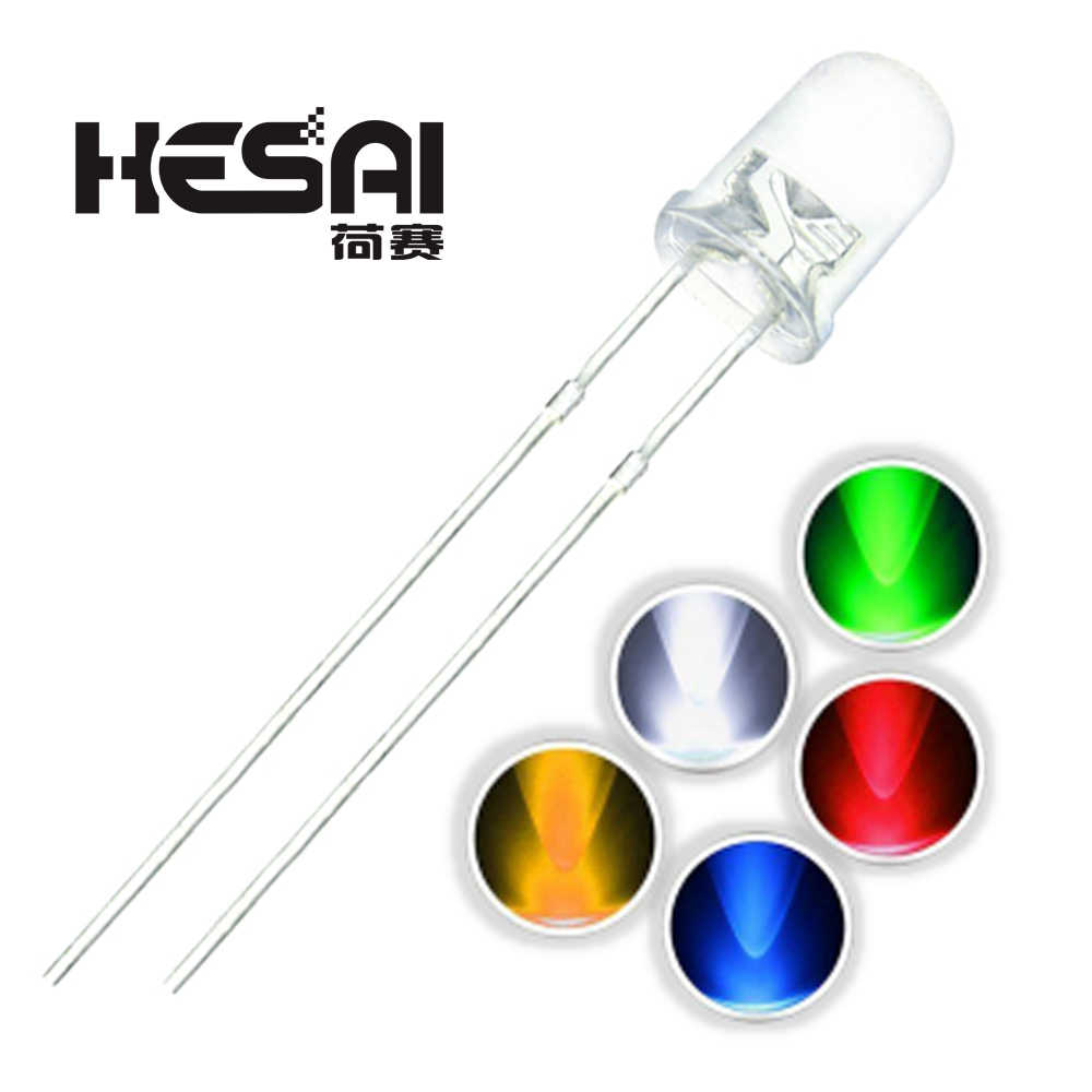 50PCS 3MM DIP LED Red Yellow Green Blue  White high bright bead light emitting