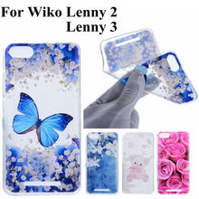 For Coque Wiko Lenny 2 Wiko Lenny 3 Cases Rose Butterfly Cute Bear Soft TPU Cover Fashion Transparent Cell Phone Case Fundas