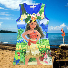 2017 Moana Dress Girl Party Birthday Dress Children Clothing Girls Summer Moana Clothes princesse Girl Dresses Character