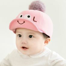 DreamShining Cute Baby Hat Cartoon Big Eyes Baby Baseball Cap Newborn Hairball Hat Spring 5 Color Caps For Boys Girls(China)