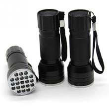 High Quality 85*35*30mm waterproof Ultra Violet Flashlight Torch Light Lamp 3AAA Aluminium Alloy Portable 21 LED UV flashlight