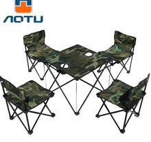 5pcs/set Outdoor Portable Camping Picnic Folding Table Chair Set Foldable Desk Fishing Chairs