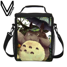 VEEVANV Brand 2017 Tonari No Totoro Pattern Picnic Lunch Bags Fashion PU Cooler Picnic Lunch Food Bag 3D PU Insulated Lunch Bags