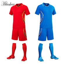 Soccer Uniform for Mens Football Jerseys Sets Short Sleeve Lapel Jerseys Shorts Kit Team Training Competition Clothes maillot de(China)