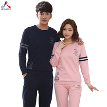 JCVANKER Leisure Casual Cotton Couples Pajamas Set For Women Pink Man Black Full Length Autumn Homewear Pyjamas Suit Sleepwear