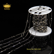 6mm Coin Round Black Glass Beads Chains Supplies,Rosary Style Plated Gun Black Link Making Necklace Jewelry LS055