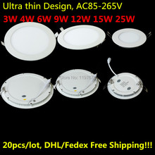 3W 4W 6W 9W 12W 15W 25W LED Ceiling recessed downlight/round LED Panel Light 20pcs/lot DHL/Fedex Free shipping(China)