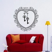 Removable Flower Key Heart design Wall Sticker Bedroom Decoration Wall Decals Posters Mural Vinyl Home Decor Living Room S-930(China)