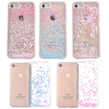 BROTOLA Glitter Heart/Stars Dynamic Liquid Quicksand Crystal Clear Case Meteor Twinkling Hard Back Cover For iPhone 7 6 6S Plus