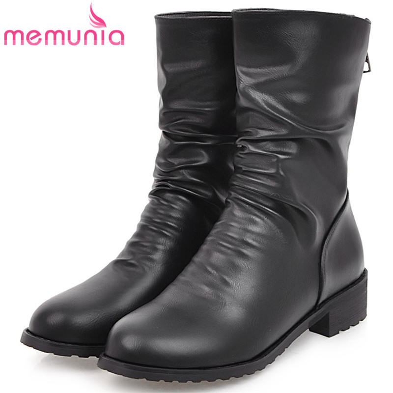 MEMUNIA PU soft leather ankle boots fashion shoes woman med heels womens boots female round toe PU soft leather<br>