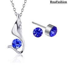 Wholesale Austria Crystal Jewelry Pendants Necklaces Stud Earrings Sets elegant wings style for women for party