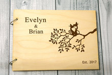 personalized cats on the tree alternative Rustic wedding guest album book engraved Wooden guestbooks Reception party decorations