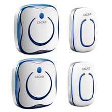 CACAZI High Quality Wireless doorbell 2 Waterproof buttons+2 receivers door bell with LED light 48 rings 4 volume door chime