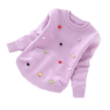 2017 autumn baby girls clothes colorful ball patchwork kids sweater baby long sleeve sweater girls knitwear outwear kids costume