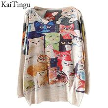 KaiTingu 2015 New Fashion Winter Women Sweater and Pullovers Long Batwing Sleeve Knitted Jumper Knitwear Cat Home Print Sweaters